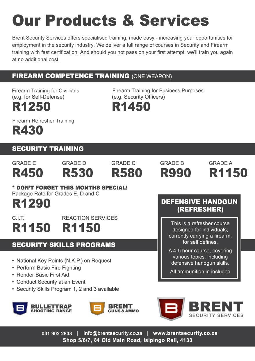 Firearm training brent security shooting range flyer xflitez Images